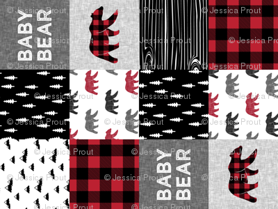 baby bear patchwork quilt top (90) || buffalo plaid