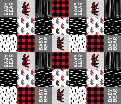 baby bear patchwork quilt top (90) || buffalo plaid fabric by littlearrowdesign on Spoonflower - custom fabric