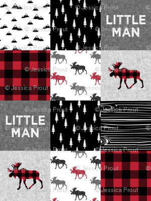 little man patchwork quilt top || moose buffalo plaid