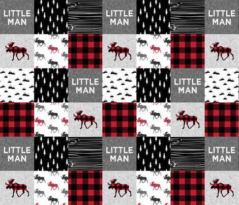 little man patchwork quilt top    moose buffalo plaid fabric by littlearrowdesign on Spoonflower - custom fabric