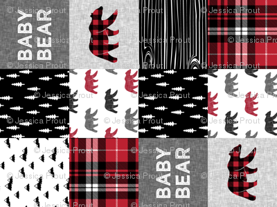 baby bear patchwork quilt top (90) || fall plaid