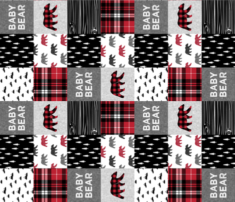 baby bear patchwork quilt top (90) || fall plaid fabric by littlearrowdesign on Spoonflower - custom fabric