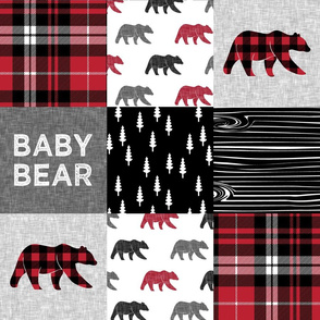 baby bear patchwork quilt top || fall plaid