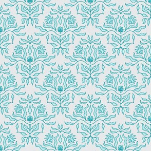 Seaweed damask - Aqua/teal on grey - Lagoon