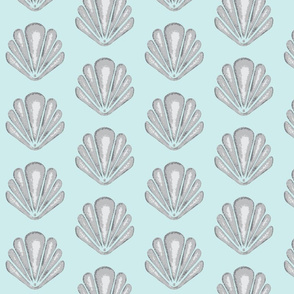 Clamshells - Pale Aqua/Grey Seashells