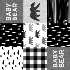 baby bear patchwork quilt top (90) ||  monochrome