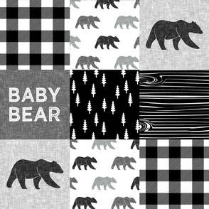 baby bear patchwork quilt top || monochrome