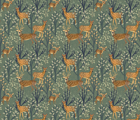 Deer in Snowy Forest fabric by susan_polston on Spoonflower - custom fabric