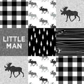 little man patchwork quilt top || monochrome