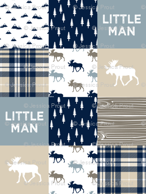 little man patchwork quilt top || rustic woods collection