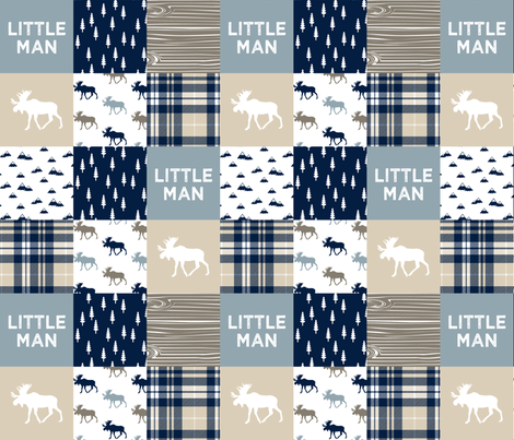little man patchwork quilt top || rustic woods collection fabric by littlearrowdesign on Spoonflower - custom fabric