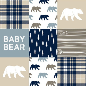baby bear patchwork quilt top || the rustic woods collection
