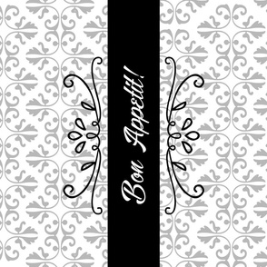 Bon Appetit Damask Tea Towel Black