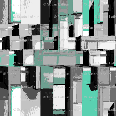 cityscape shades of gray with turquoise