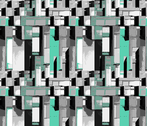 cityscape shades of gray with turquoise fabric by mammajamma on Spoonflower - custom fabric