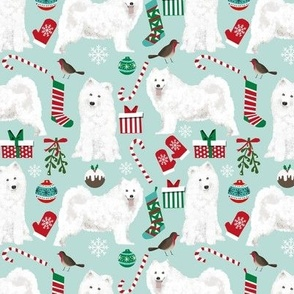 samoyed christmas fabric cute dog xmas holiday design samoyeds fabric holiday christmas fabric