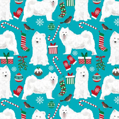 samoyed christmas fabric dog fabric samoyeds dog fabric sammys dog christmas design holiday xmas christmas dog fabric by petfriendly on Spoonflower - custom fabric