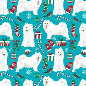 samoyed christmas fabric dog fabric samoyeds dog fabric sammys dog christmas design holiday xmas christmas dog