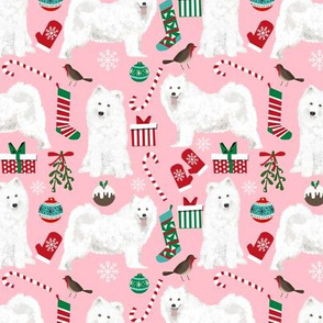 samoyed christmas fabric cute christmas xmas holiday design samoyed christmas fabric