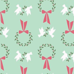 Wreath and Doves in Mint