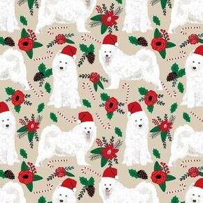 samoyed christmas fabric poinsettia christmas design samoyeds christmas fabric