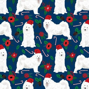 samoyed christmas fabric sled dog christmas design poinsettia christmas fabric samoyeds christmas fabrics