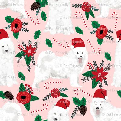 samoyed christmas dog christmas fabric samoyeds christmas dogs poinsettia christmas dogs