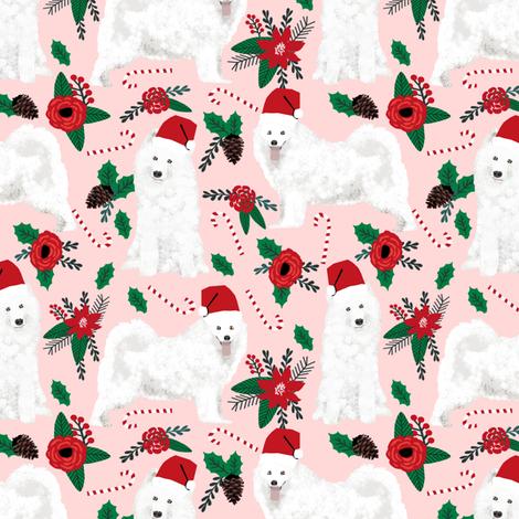 samoyed christmas dog christmas fabric samoyeds christmas dogs poinsettia christmas dogs fabric by petfriendly on Spoonflower - custom fabric