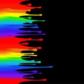 Rainbow paint drips on black