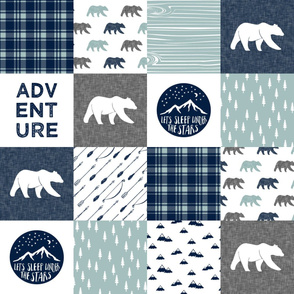 the happy camper (bears)  || dusty blue and navy