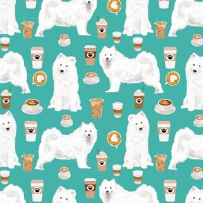 samoyed coffees fabric cute white sled dogs fabric cute dog  coffees print