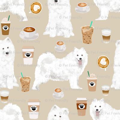 Samoyeds Coffee Fabric White Sled Dogs Sammy Fabric Samoyeds And