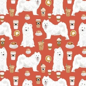 samoyed coffee fabric white sled dogs fabric samoyeds coffee fabrics coffee dogs fabric