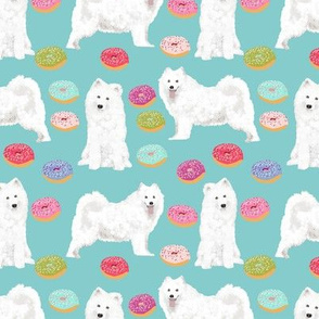samoyed dog fabric donuts dog design pastel dogs design cute sled dogs samoyeds dog fabric