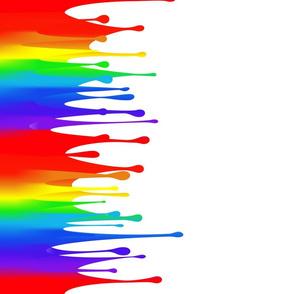 Rainbow paint drips on white