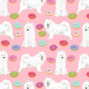 samoyed donuts fabric cute dog design best donuts pink food fabric samoyeds dog fabric