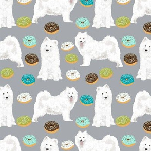 samoyed donuts fabric mint and chocolate donuts fabric dog design samoyeds dog fabric