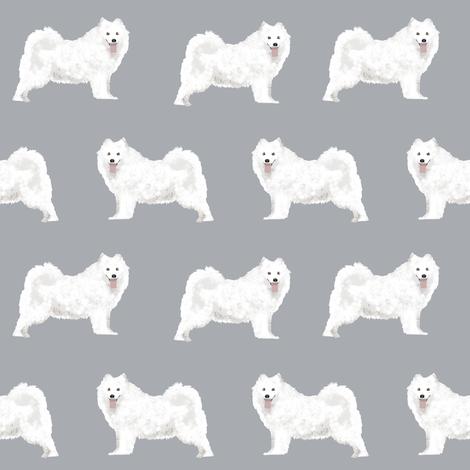 samoyed dogs fabric grey dog design samoyeds sled dogs