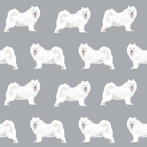 samoyed dogs fabric grey dog design samoyeds sled dogs design