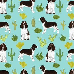 english springer spaniel cactus fabric dog design dog fabric dog print english springer spaniel dog design