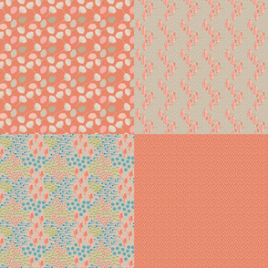 "Folk Floral Peach 54"" Fat Quarters_Miss Chiff Designs"