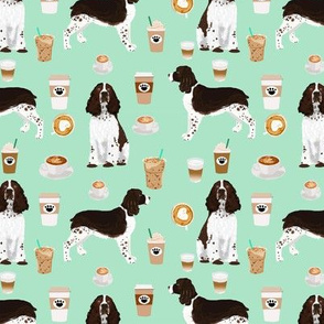 english springer spaniel dog fabric coffees and dogs fabric mint coffee spaniel fabric