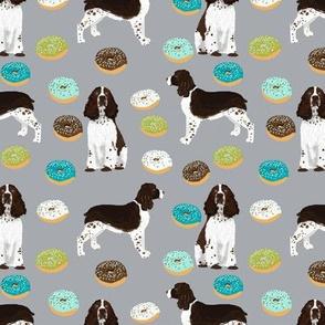 english springer spaniel dog donuts fabric grey food fabric dogs design springer spaniels dog design