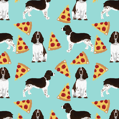 english springer spaniel pizza fabric dog fabric springer spaniel dogs design springer spaniels  fabric by petfriendly on Spoonflower - custom fabric