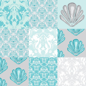 Wholecloth Quilt - Mermaid Lagoon- Aqua and Grey Seashells