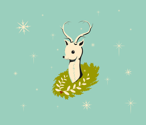 Vintage Reindeer Bust on Light Blue fabric by nicoledobbins on Spoonflower - custom fabric