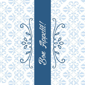 Bon Appetit Damask Tea Towel - Blue