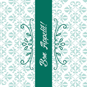 Bon Appetit Damask Tea Towel Green