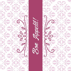 Bon Appetit Damask Tea Towel Pink
