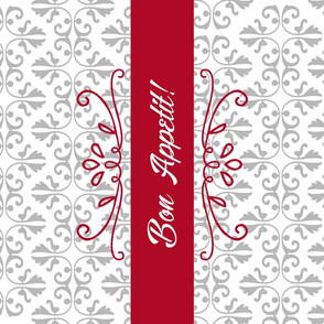 Bon Appetit Damask Tea Towel - Red